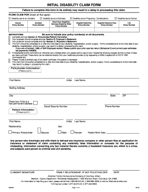 Aflac Initial Disability Claim Form S00224 - Fill Online ...