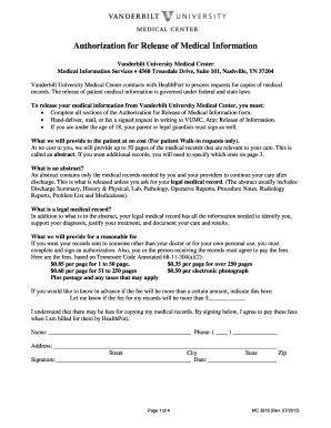 Vanderbilt Authorization For Release Of Medical Information