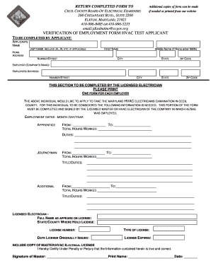hvac work verification form maryland