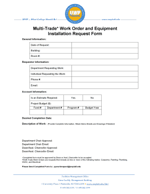 Fillable Online uwplatt Multi-Trade* Work Order and Equipment ... on equipment contract forms, maintenance time sheets forms, equipment invoice forms, examples of checklist forms, equipment maintenance forms, work receipt forms, equipment rental agreement forms, equipment training forms, equipment inventory forms, engineering material request forms, equipment pm forms, equipment inspection forms, heavy equipment repair forms, equipment receipt forms, equipment service forms,