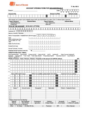 bank of baroda form 401 fill up sample