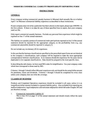 Missouri Commercial Liability Profitability Report Form  General Release Of Liability
