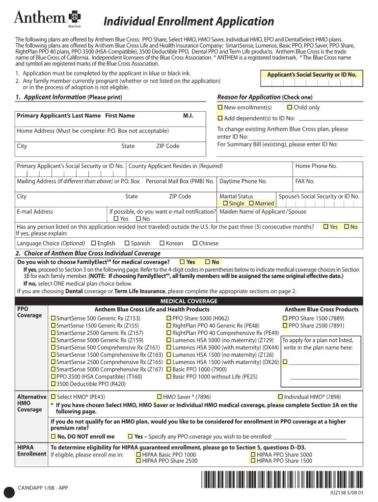 2008 Form Anthem CAINDAPP Fill Online, Printable, Fillable ...