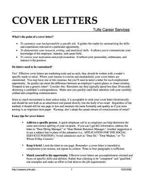 COVER LETTERS   Career Services   Tufts University   Careers Tufts