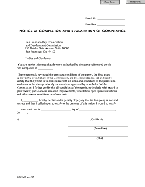 Fillable Online bcdc ca Notice of Completion and declaration of ...