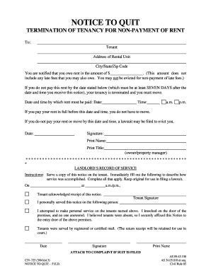 sample eviction notice for nonpayment of rent Forms and Templates ...