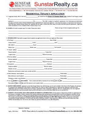 Residential Tenancy Application Form - Sunstar Realty Ltd.. Residential Tenancy Application Form - Sunstar Realty Ltd.