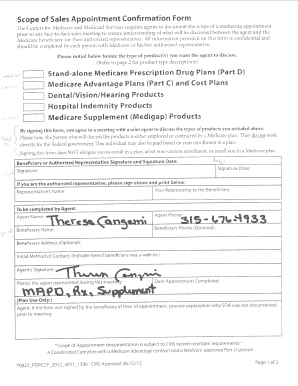 Fillable Online Scope of Appointment Form - My Medicare Made ...