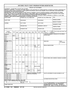 Fillable Online AF Form 1181 - Altus FSS Fax Email Print - PDFfiller