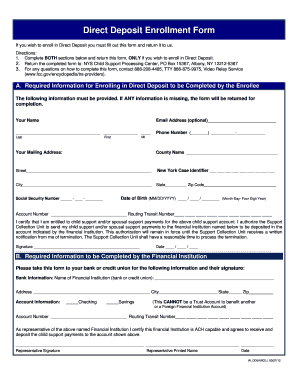 Ny Child Support Direct Deposit Form - Fill Online, Printable ...