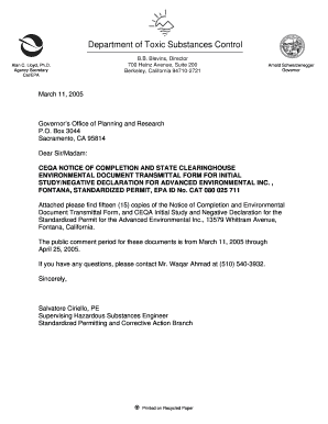 Fillable Online dtsc ca AEI, Fontana - CEQA NOTICE OF COMPLETION ...