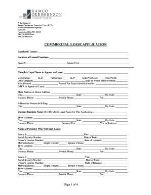 ramco gershenson commercial lease application form
