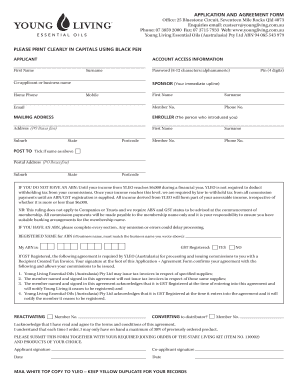 Fillable Online APPLICATION AND AGREEMENT FORM Office: 25 ...