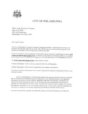 Fillable Online bids phila Ach vendor enrollment and change form ...