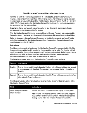 Printable sterilization consent form texas Samples to Submit