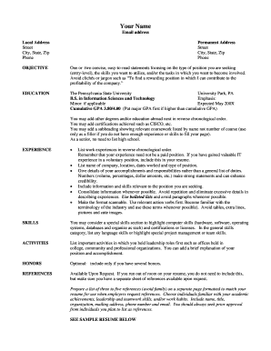 Resume Template - College of Information Sciences and ... - ist psu