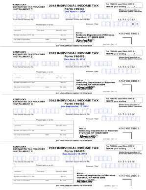 Kentucky Form 740 Es 2012 - Fill Online, Printable, Fillable ...