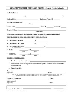 Fillable Online Grade Change Form - Garfield High School - Seattle ...