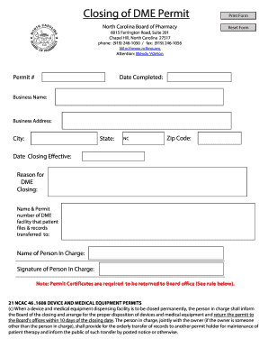 closing dme business form