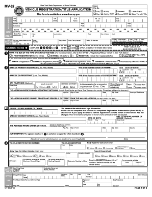 Ny Dmv Registration Form >> 2012 Form NY MV-82 Fill Online, Printable, Fillable, Blank - PDFfiller