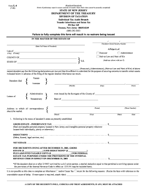 Nj Tax Waiver Form L 4 Instructions - Fill Online, Printable ...
