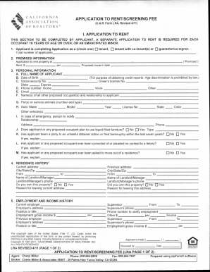 california association of realtors rental application pdf