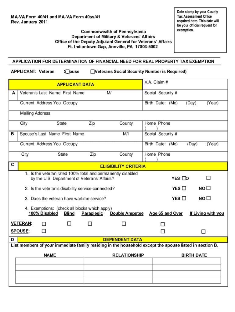 Ma Va Form 40 41 - Fill Online, Printable, Fillable, Blank | PDFfiller