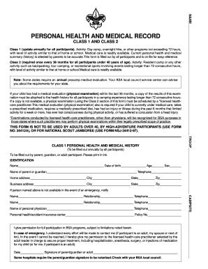 jamboree personal health and medical record form