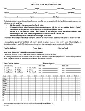 Carroll County School System Medication Administration Form - Fill ...