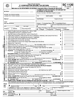 State Of South Carolina C Corporation Income Tax Return Form Sc ...