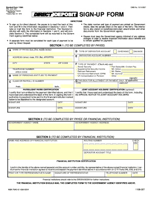 Instructions For Completion Of The DIRECT DEPOSIT SIGN-UP FORM