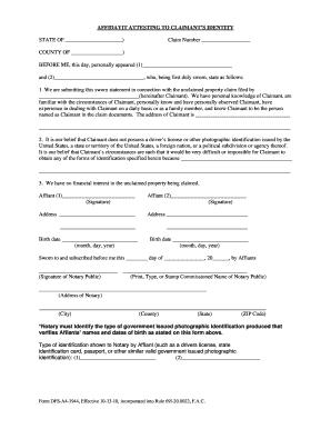 Affidavit Attesting To Identity  Blank Affidavit