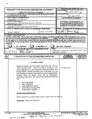 Fillable Online archives Form I-89 Camera Cards - National ...