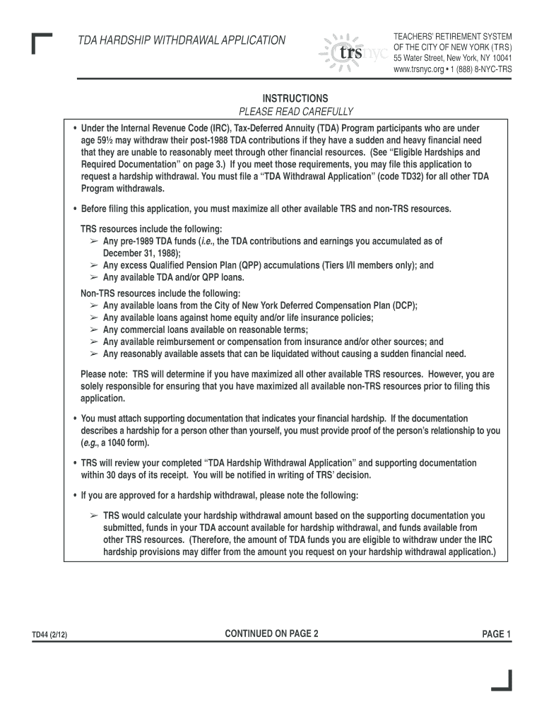 Tda Hardship Withdrawal Application - Fill Online, Printable