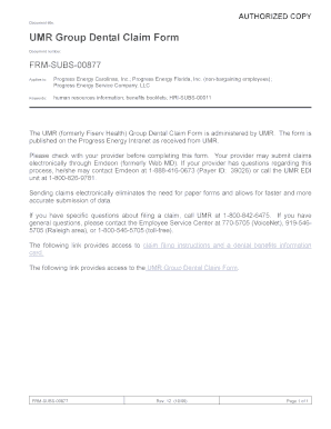 Fillable Online UMR Group Dental Claim Form Fax Email Print ...