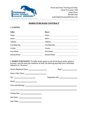 Horse Purchase Contract  Blank Purchase Contract
