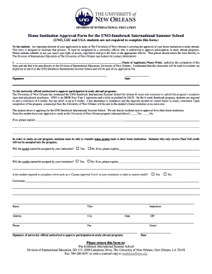 Home Institution Approval Form - Division of International Education ... - inst uno
