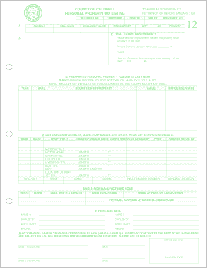 nc business personal property listing form