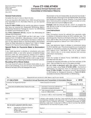 Ct 1096 fillable 2012 form