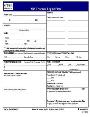 Anthem Aba Treatment Request Form - Fill Online, Printable ...