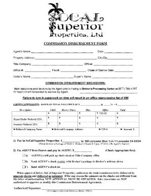 Commision Disbursement Form Fill Online Printable