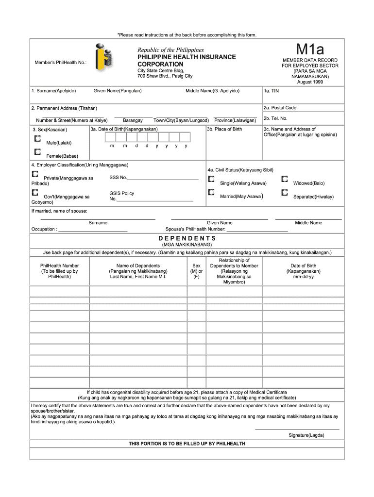 philhealth m1b form