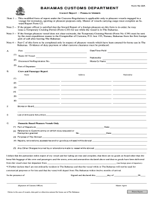 Fillable Online BAHAMAS CUSTOMS DEPARTMENT - Atlantis Fax Email ...