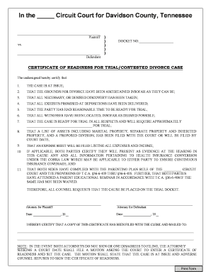 Fillable Online CERTIFICATE OF READINESS FOR TRIAL/CONTESTED