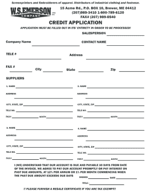 Fillable Online Credit Application Form - WS Emerson Fax Email Print