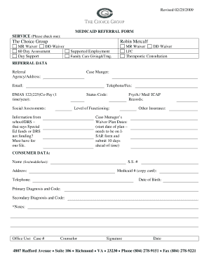 Fillable Online Medicaid Waiver Referral Form - The Choice Group ...