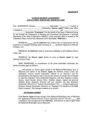 Escrow Agreement Sample Editable Fillable Printable