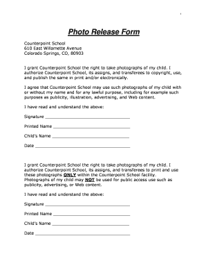 Fillable Online Sample Photo Release Form - counterpoint school ...