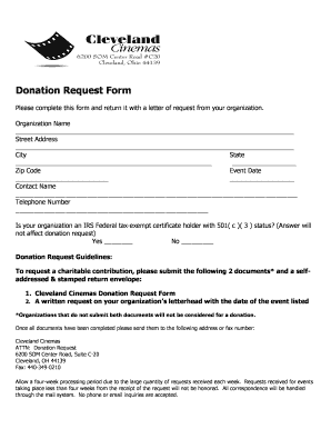 Donation Request Form - Cleveland Cinemas