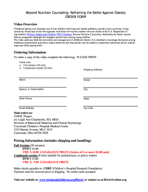 Fillable Online cincinnatichildrens Order form - Cincinnati ...